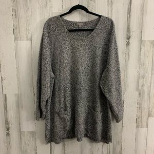 J.jill textured two tone pocket sweater